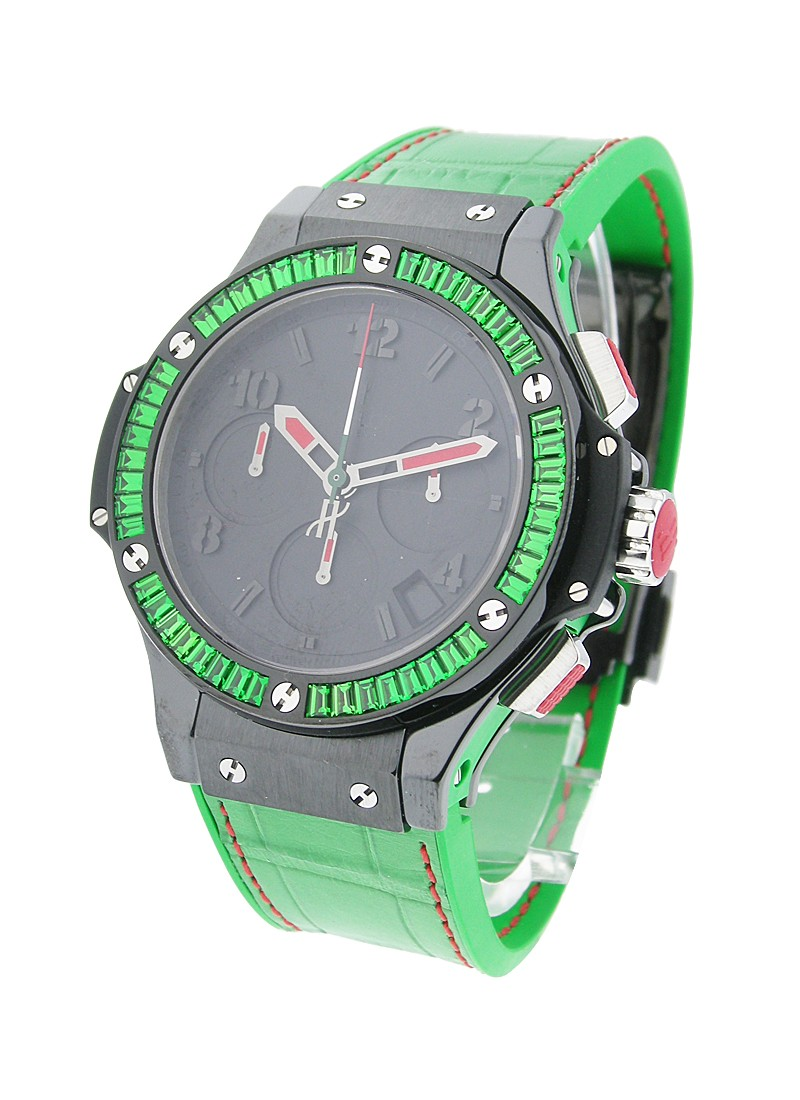 Hublot Big Bang Tutti Frutti  Mexican Federation in Black Ceramic with Green Baguette Diamond Bezel