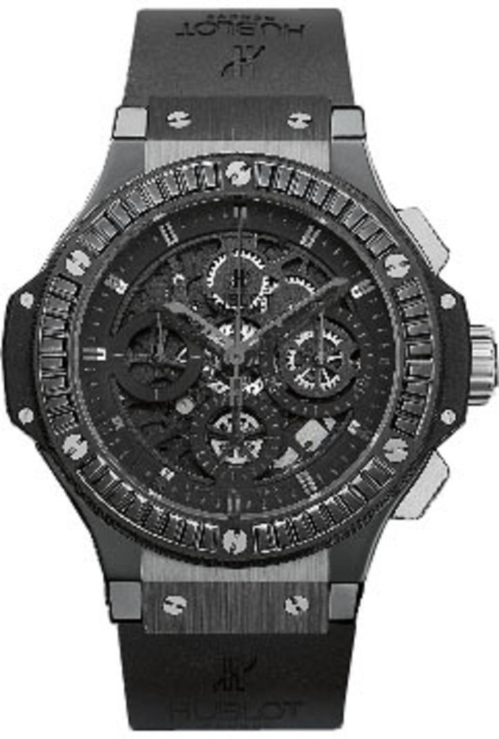 Hublot Aero Bang 44mm All Black Carat in Black Ceramic with  Black Baguette Diamond Bezel