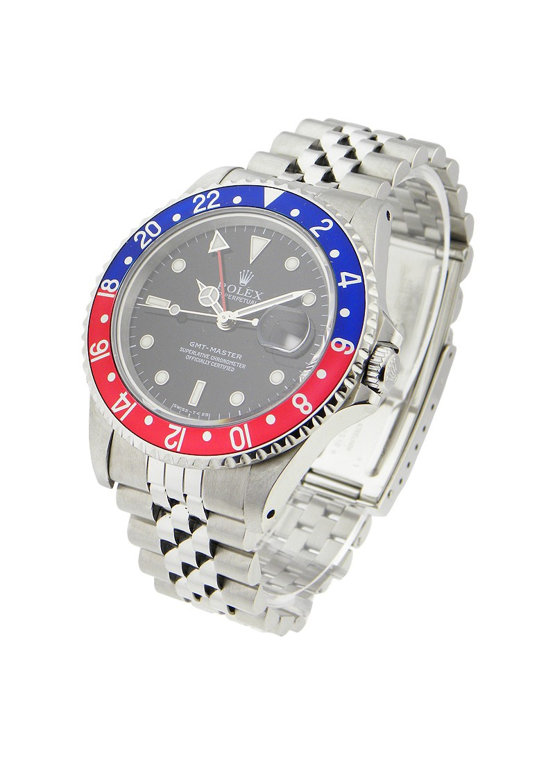 Rolex Used GMT Master 1 in Steel with Blue and Red Bezel