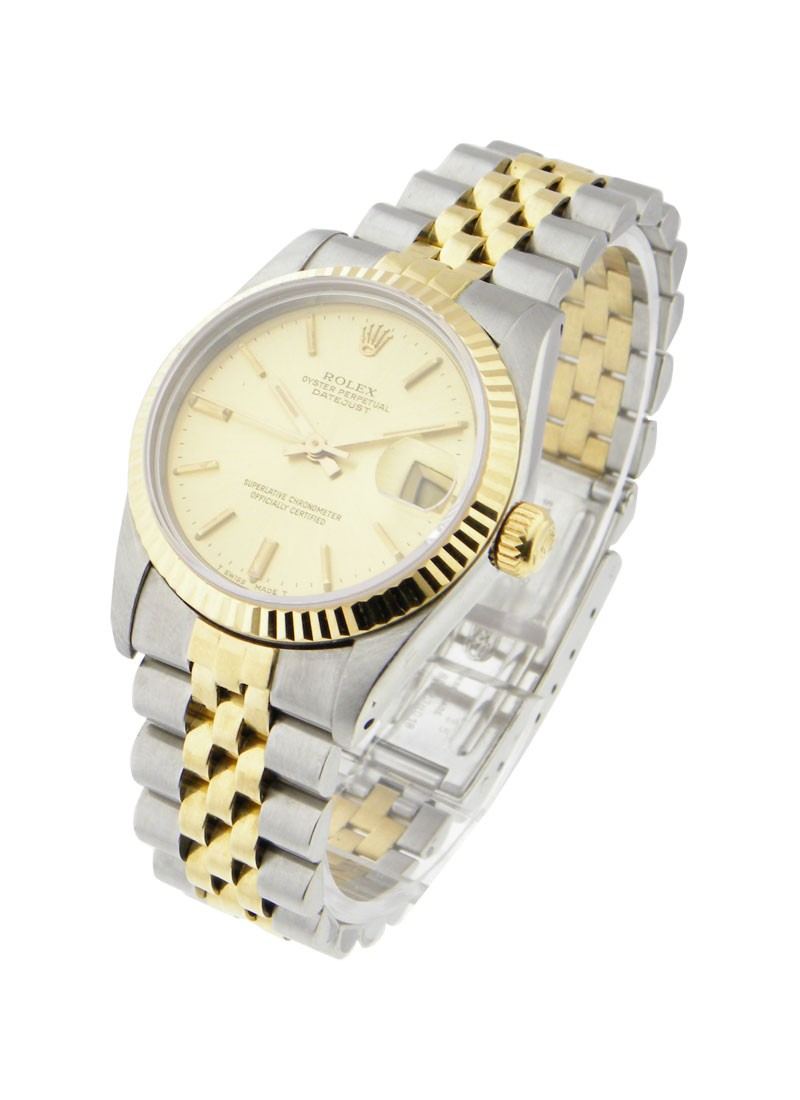 Pre-Owned Rolex Mid Size Datejust in Steel with Yellow Gold Fluted Bezel