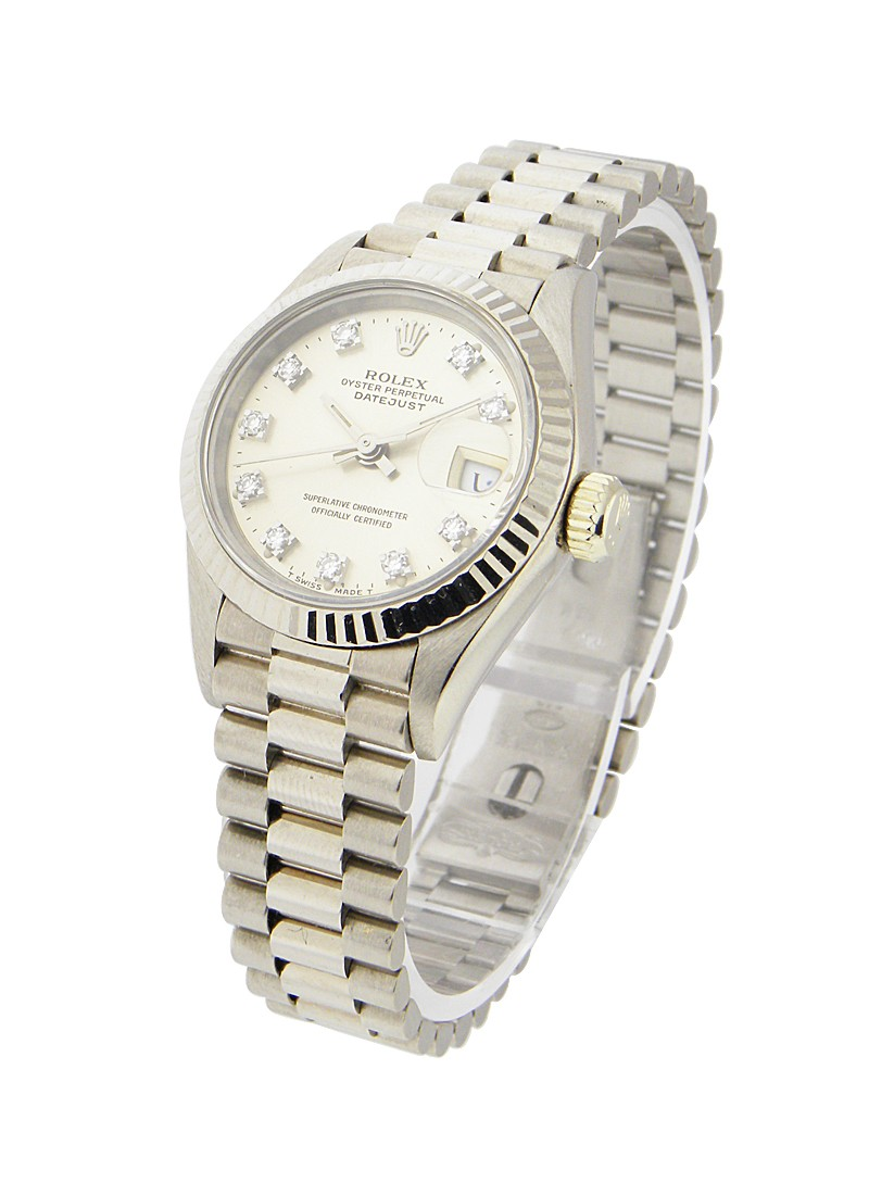 Pre-Owned Rolex Ladies President in White Gold with Fluted Bezel