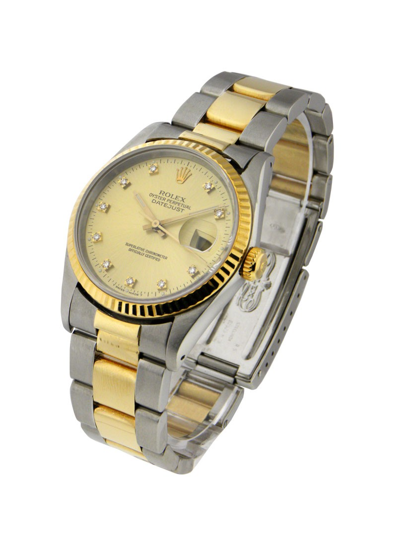 Pre-Owned Rolex Datejust 36mm 2-Tone with Yellow Gold Fluted Bezel