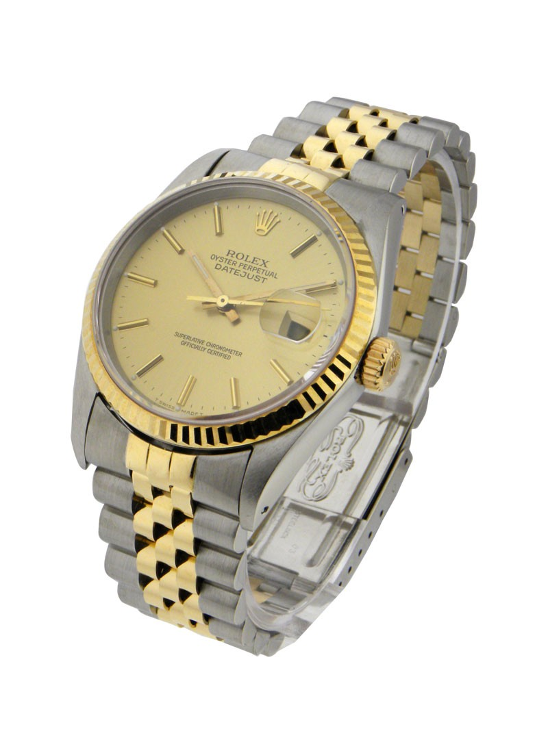 Pre-Owned Rolex 2-Tone Datejust 36mm with Yellow Gold Fluted Bezel