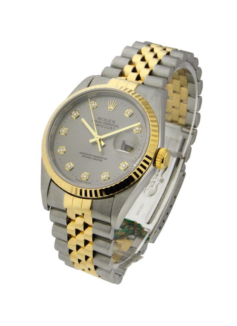 Rolex Used Datejust 36mm in Steel with Yellow Gold Fluted Bezel  circa 2000
