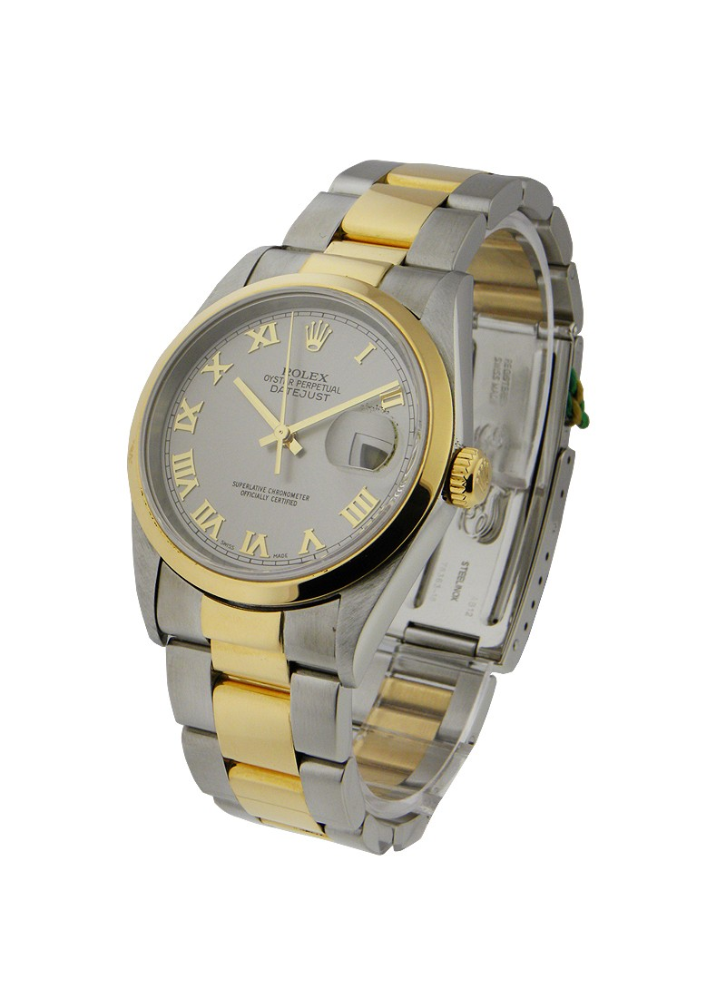 Rolex Used Datejust 36mm in Steel with Yellow Gold Smooth Bezel  Circa 2000