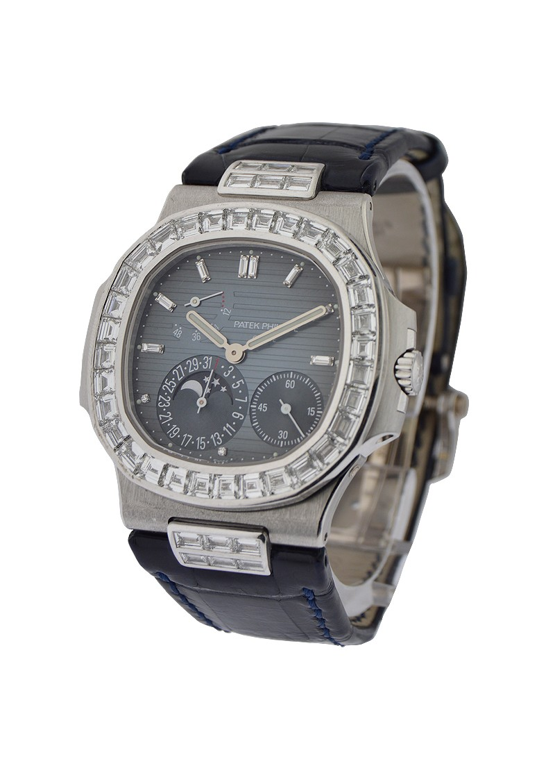 Patek Philippe 5724G Nautilus 40mm Automatic in White Gold with Baguette Bezel and Lugs