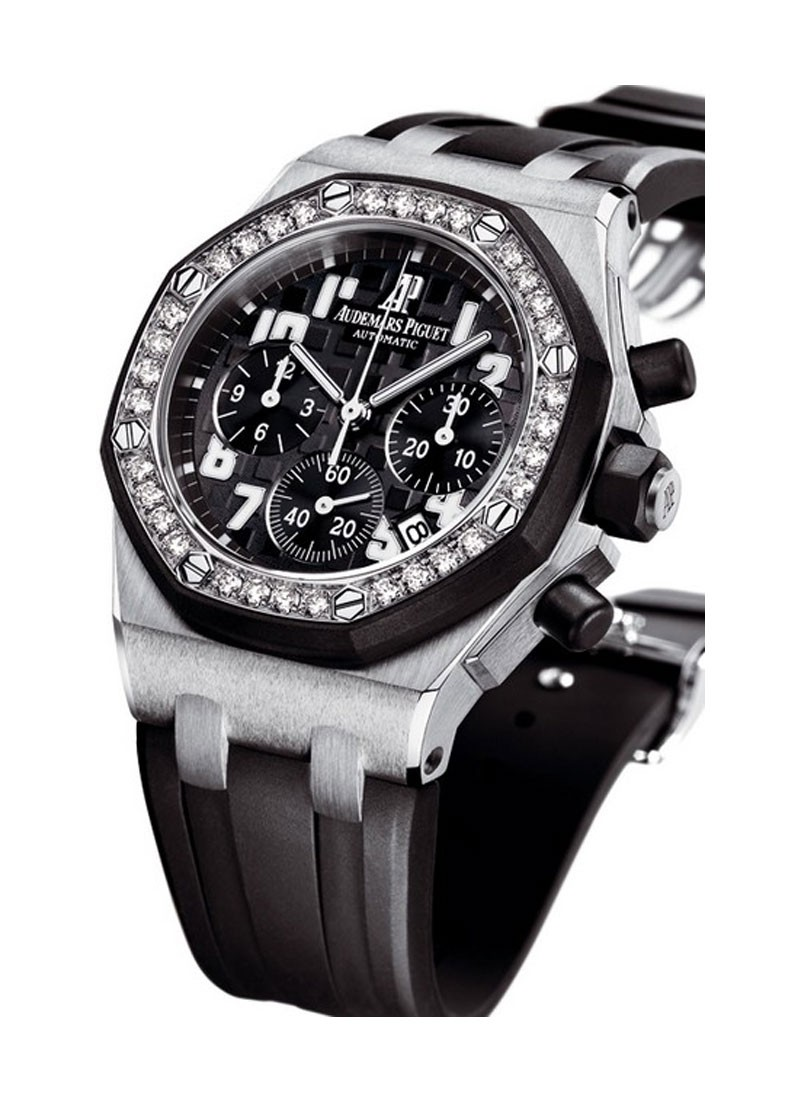 Audemars Piguet Ladys Offshore Chrono 37mm in Steel - Diamond Bezel