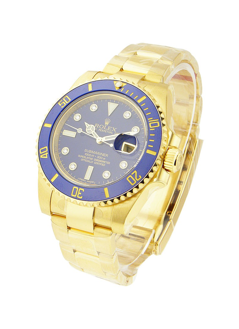 Rolex Unworn Submariner in Yellow Gold with Blue Ceramic Bezel
