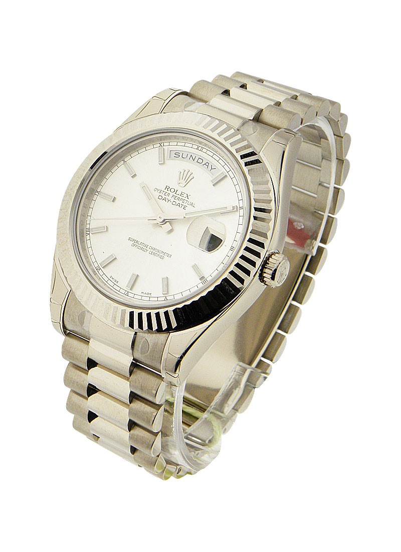 Rolex Unworn Mens Day Date II President in White Gold with Fluted Bezel