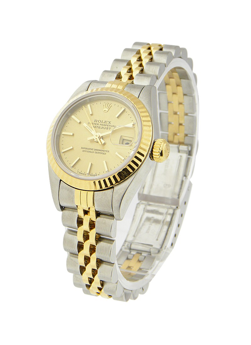 Rolex Used Ladys 2 Tone Datejust in Steel with Yellow Gold Fluted Bezel