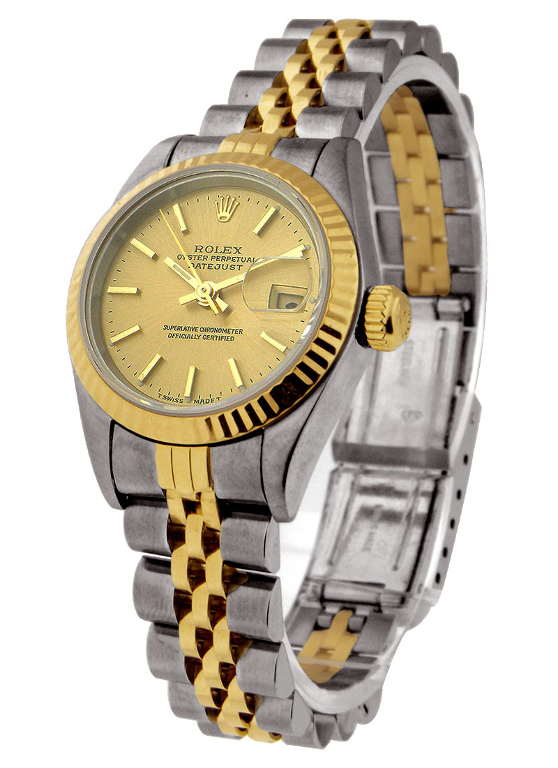 Pre-Owned Rolex 2-Tone Datejust with Yellow Gold Fluted Bezel 26mm