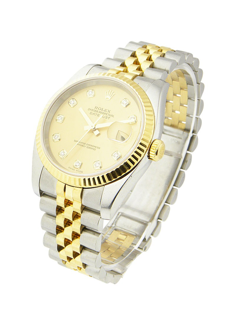 Rolex Used Datejust 36mm in Steel with Yellow Gold Fluted Bezel circa 2005