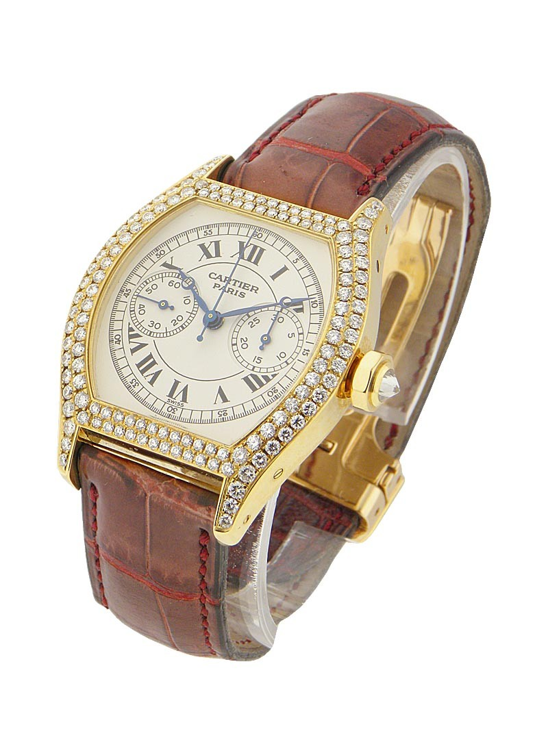 Cartier Tortue - Chronograph Monopoussoir with Diamond Bezel