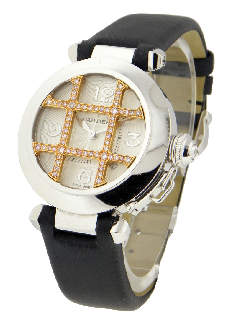 Cartier Pasha 32mm - White Gold with Rose Gold Diamond Grid