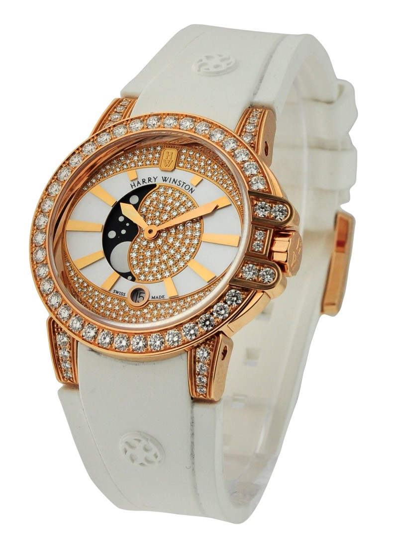 Harry Winston Ocean Lady Moon Phase 36mm Quartz in Rose Gold with Diamond Bezel
