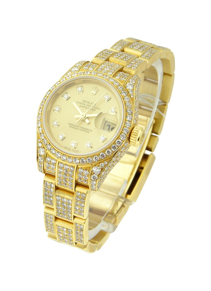 Pre-Owned Rolex Ladies President with Full Pave Diamond Case and Bracelet