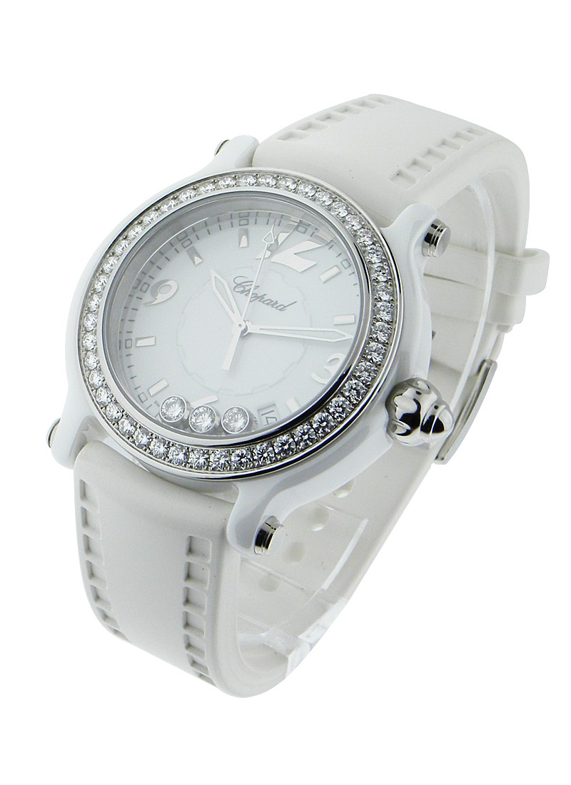 Chopard Happy Sport in White Ceramic with Diamond Bezel
