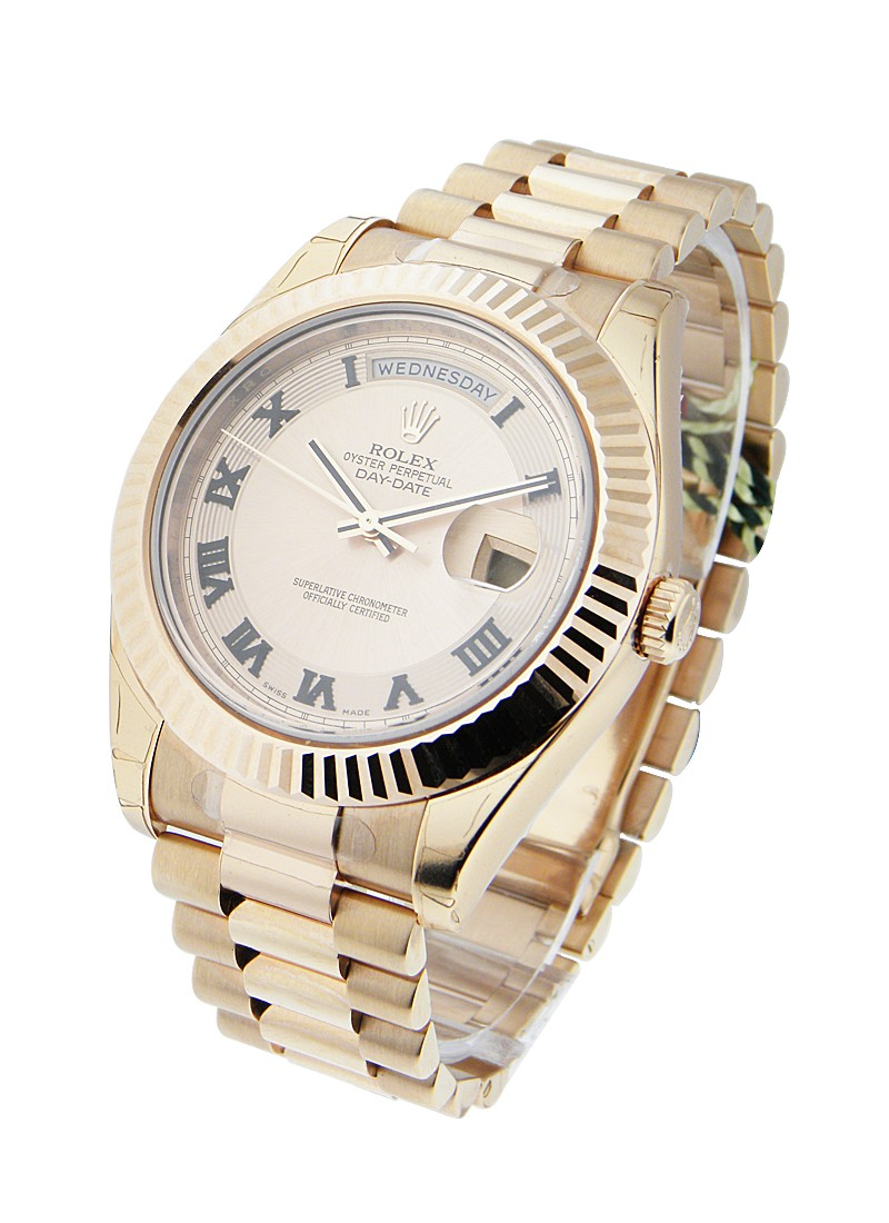 Rolex Unworn Day Date II President in Rose Gold   Fluted Bezel