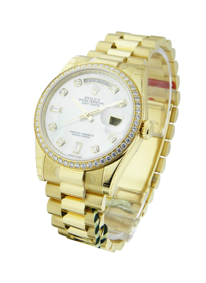 Rolex Unworn Day-Date President in Yellow Gold with Diamond Bezel