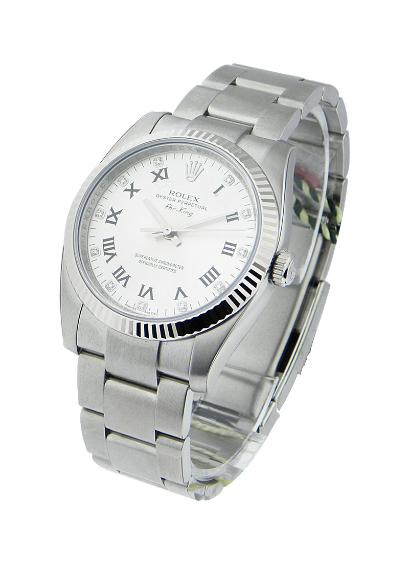 Rolex Unworn Air-King 34mm in Steel with White Gold Fluted Bezel