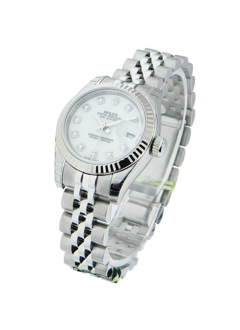 Rolex Unworn Ladies Datejust 26mm in Steel with White Gold Fluted Bezel