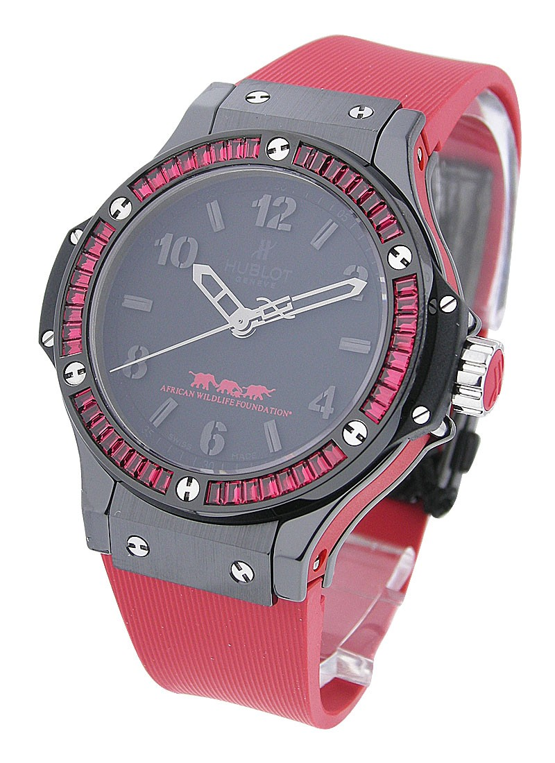 Hublot Big Bang Out in Africa  38mm in Black Ceramic with Red Baguette Diamond Bezel