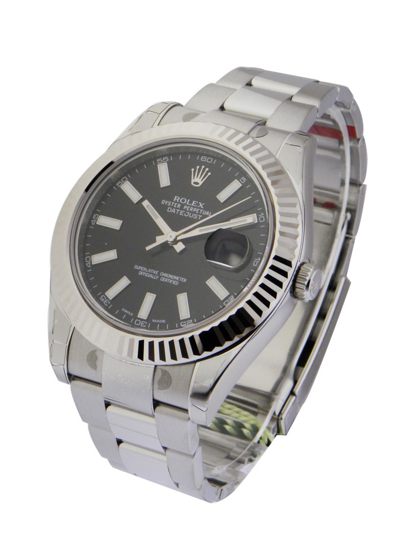 Rolex Unworn Datejust II in Steel with White Gold Fluted Bezel