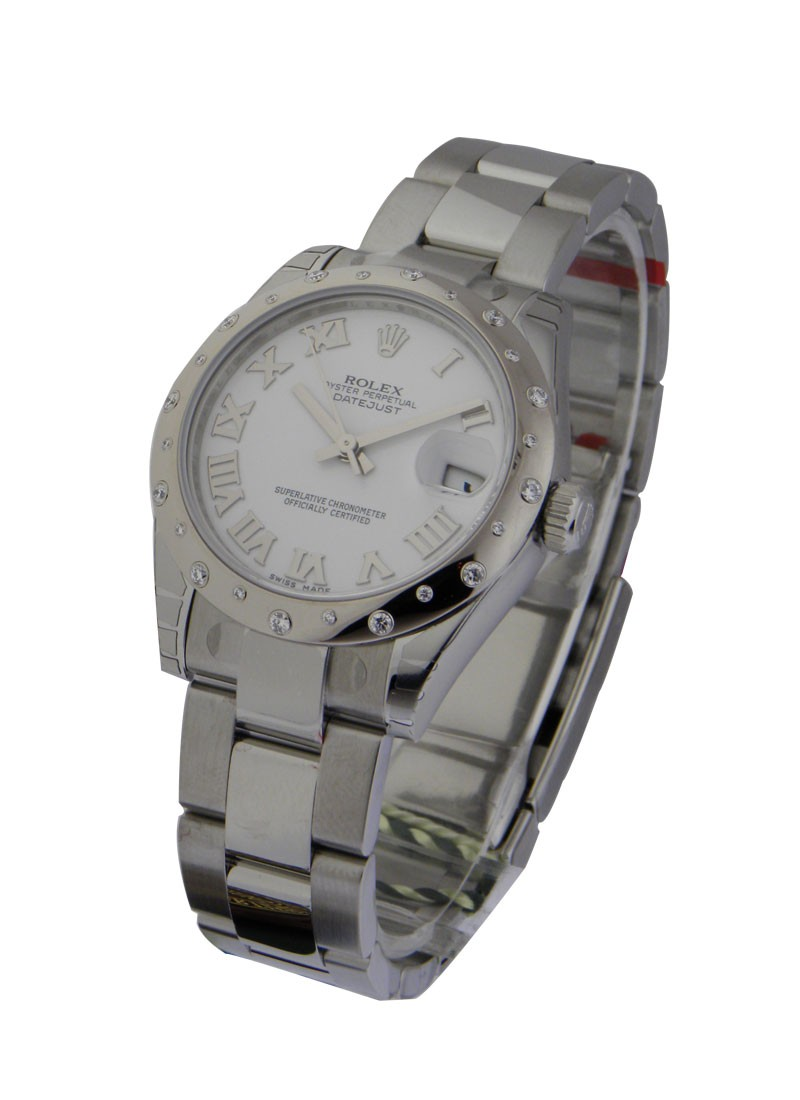 Rolex Unworn Mid Size Datejust in Steel with WG Diamond Bezel