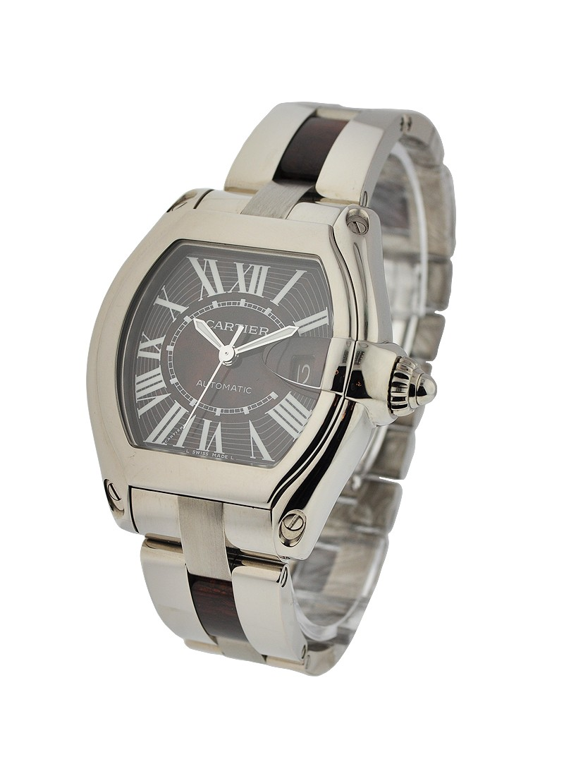 Cartier Roadster XL in White Gold with Walnut Wood