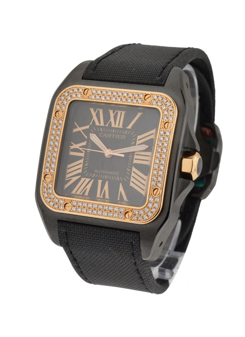 Cartier Santos 100 in Black PVD Steel with Rose Gold Diamond Bezel