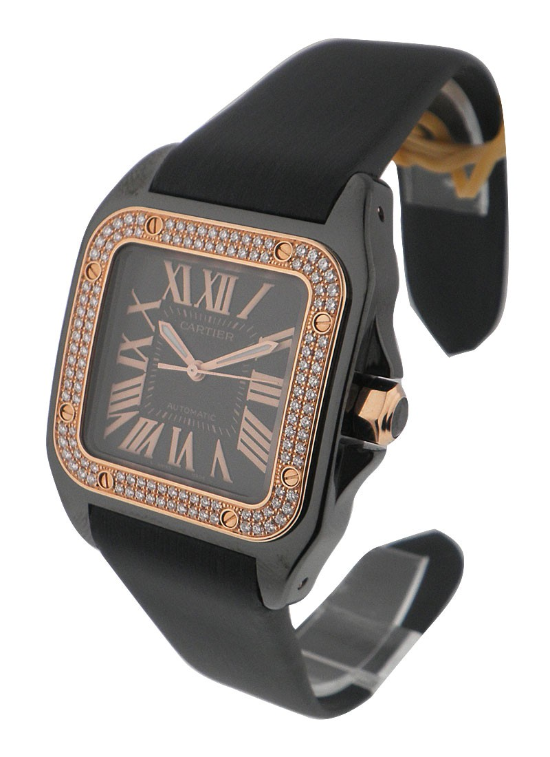 Cartier Santos 100 Med in Black PVD Carbon with Diamond Bezel