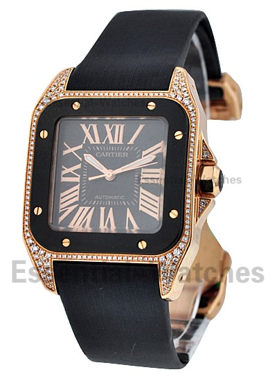 Cartier Santos 100 Medium in Rose Gold with Diamond Bezel
