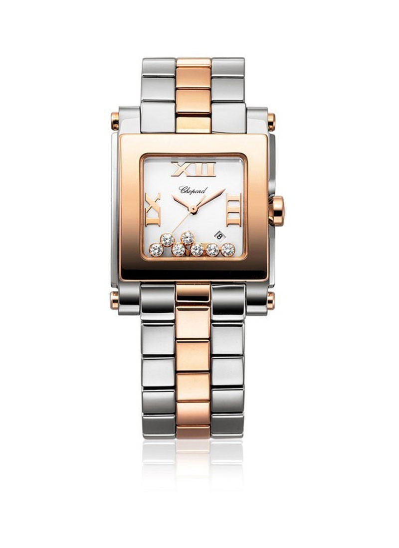 Chopard Happy Sport Square 7 Diamonds in Steel and Rose Gold