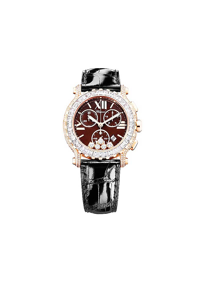 Chopard Happy Sport Round in Rose Gold with Diamond bezel