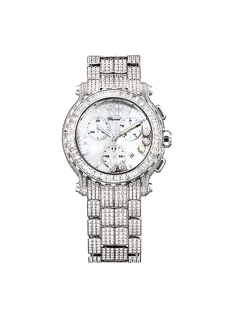 Chopard Happy Sport Round in White Gold with Baguette Diamond Dial