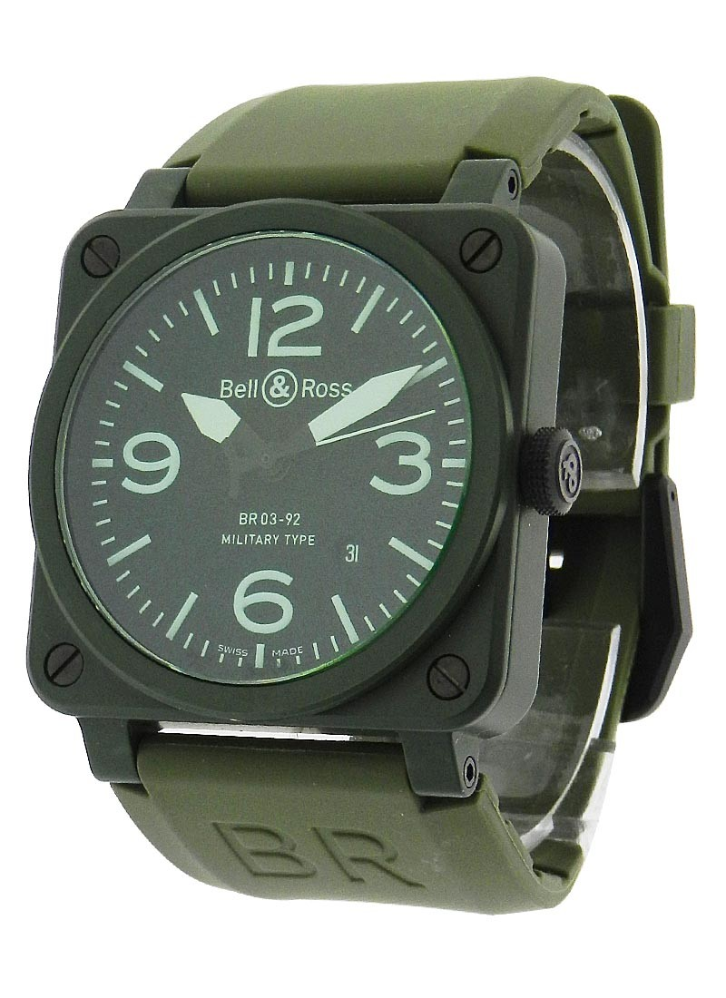 Bell & Ross Aviation BR 03 92 Military in Olive Ceramic