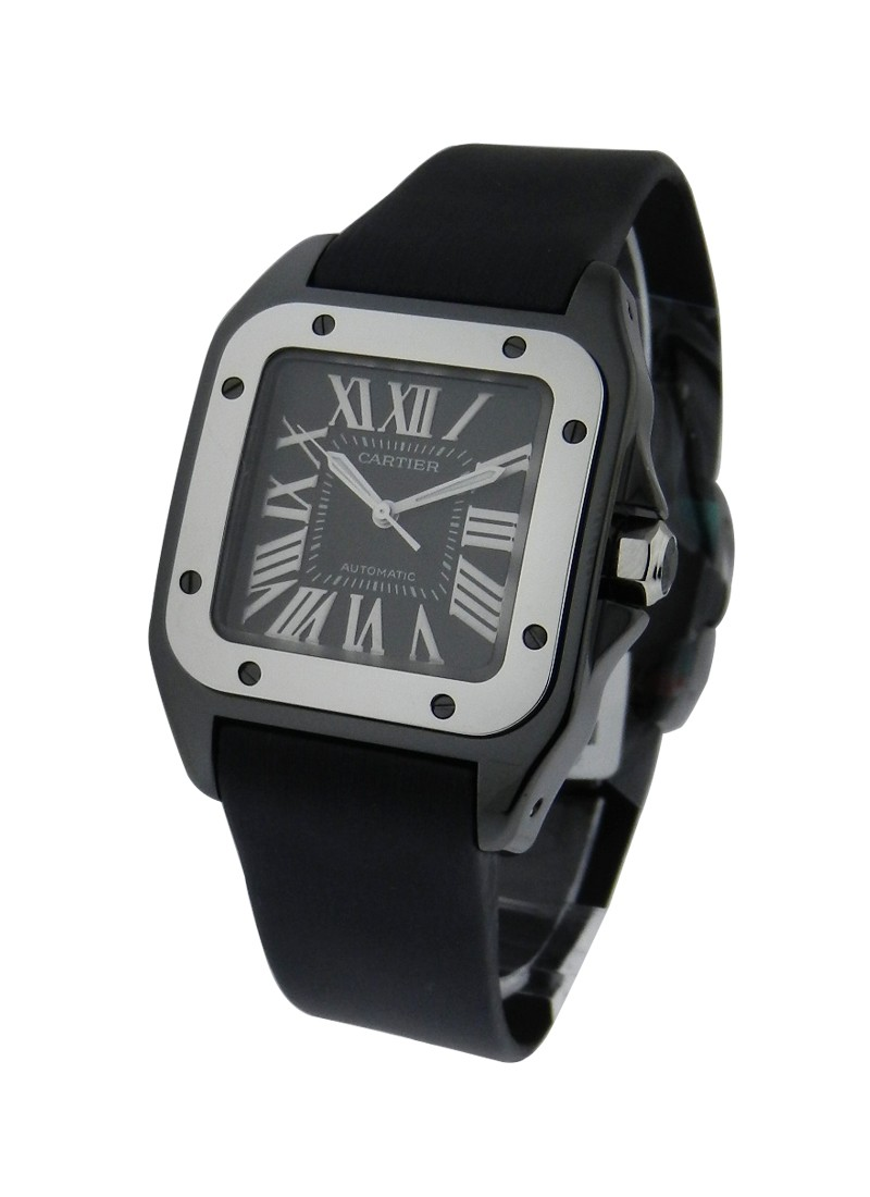 Cartier Santos 100  32mm in ADLC Coated Steel