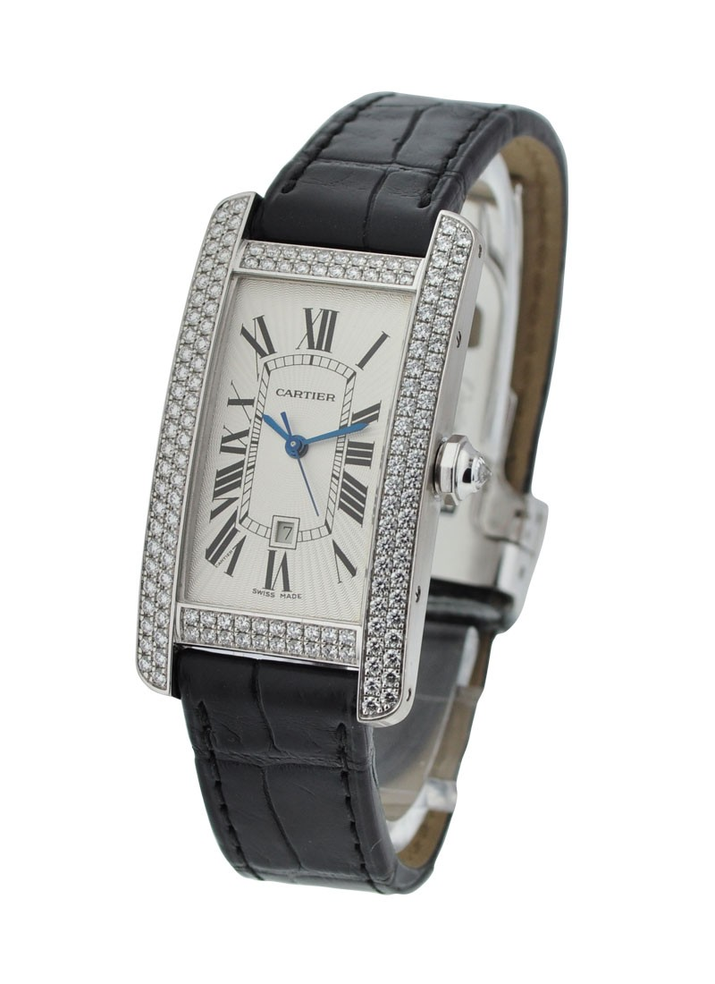 Cartier Tank Americaine in White Gold with Diamond Bezel