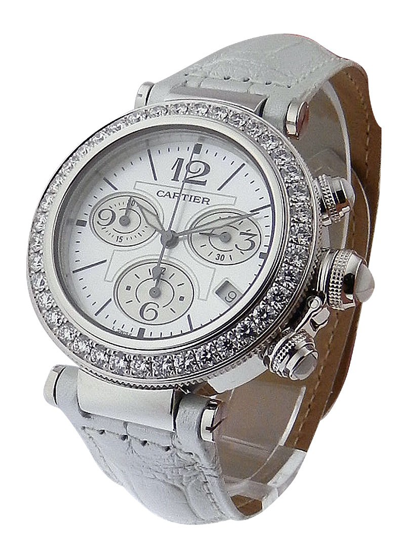 Cartier Pasha Seatimer Chronograph in White Gold with Diamond Bezel