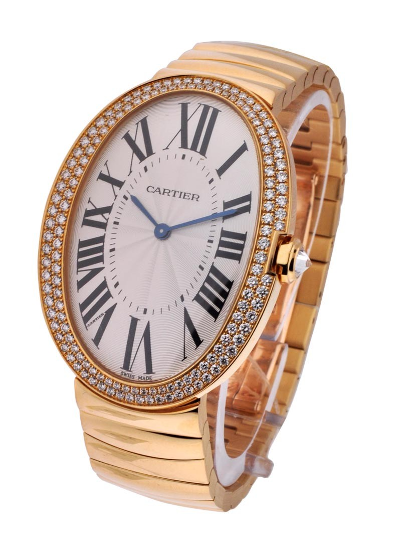 Cartier Baignoire Large in Yellow Gold with Diamond Bezel