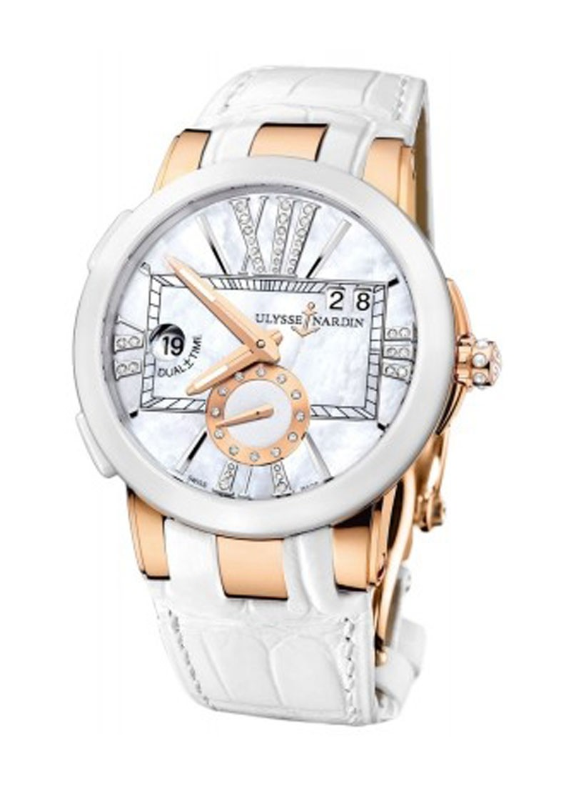 Ulysse Nardin Executive Dual Time Lady's in Rose Gold with White Ceramic Bezel