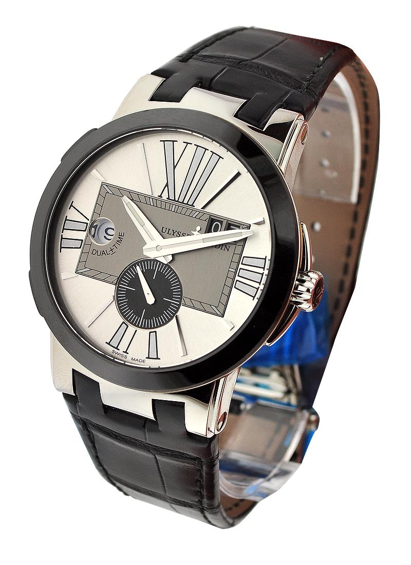 Ulysse Nardin Executive Dual Time 43mm Automatic in Steel with Black Ceramic Bezel
