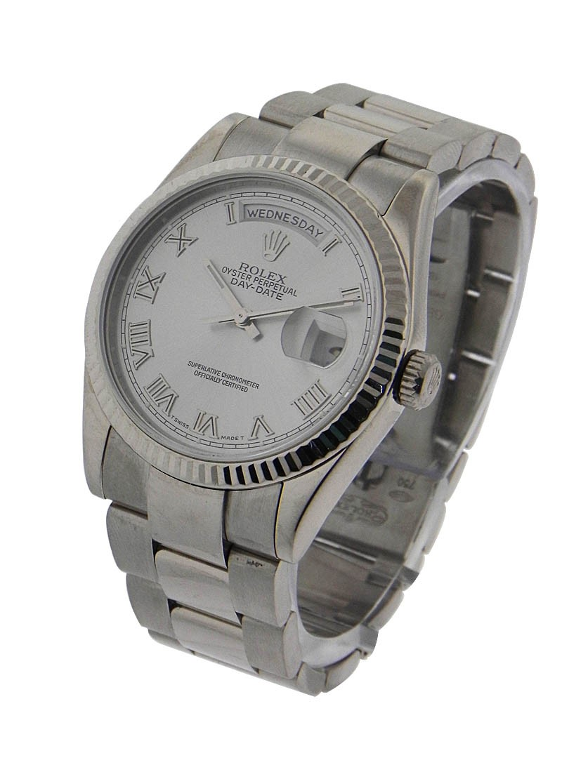 Rolex Used Men's President in White Gold with Fluted Bezel