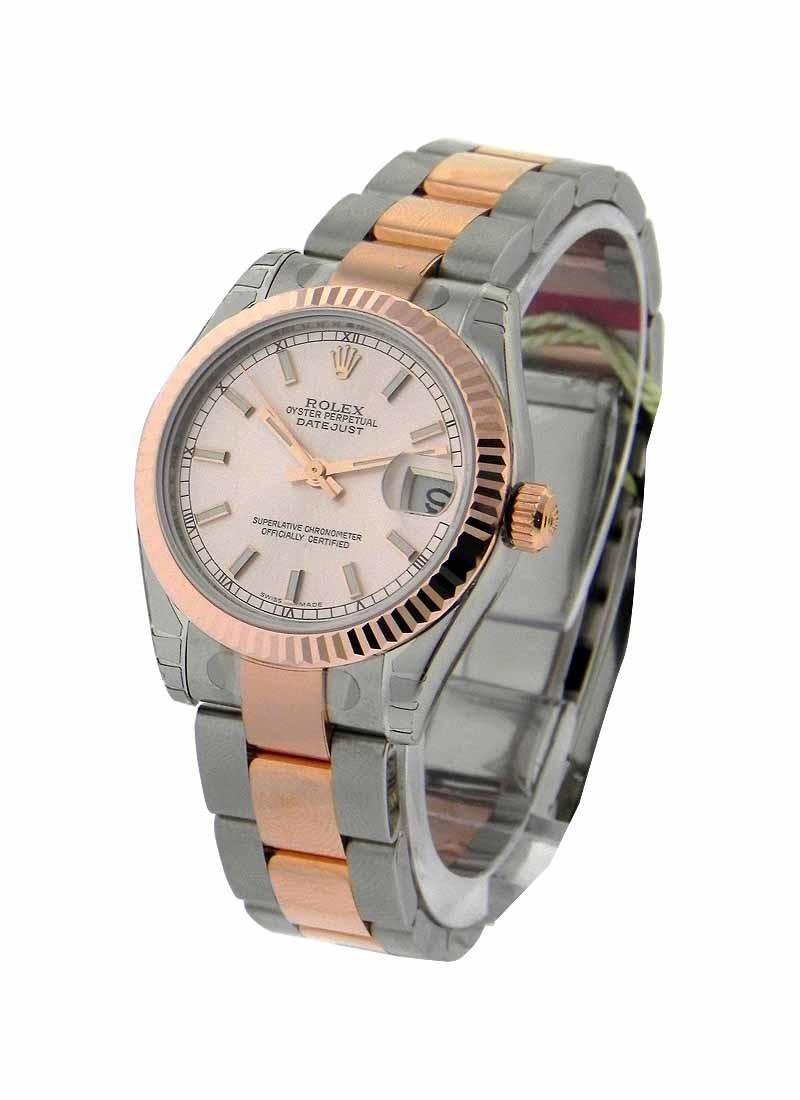 Rolex Unworn Mid Size 2 Tone Rose Gold Datejust with Fluted  Bezel
