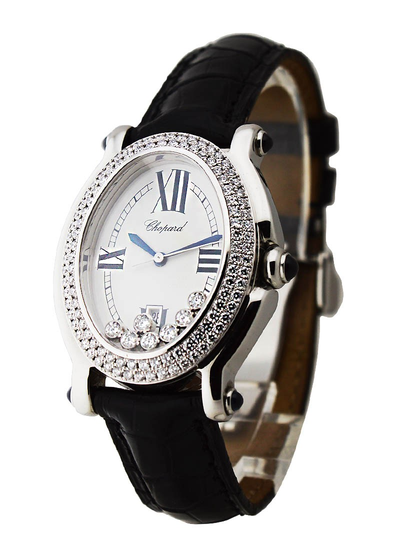 Chopard Happy Sport Oval with White Gold Bezel with 2 Rows of Diamonds
