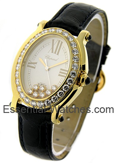 Chopard Happy Sport Oval in Yellow Gold with Single Row Diamond Bezel