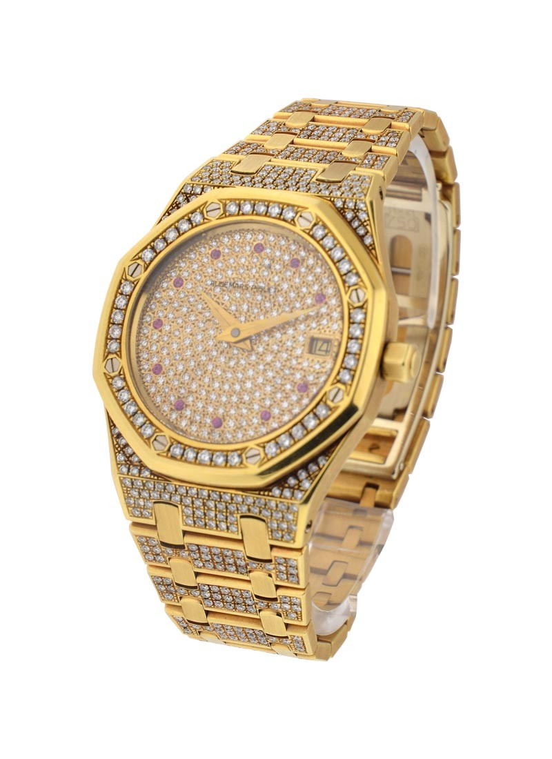 Audemars Piguet 36mm Royal Oak in Yellow Gold with all Factory Diamonds