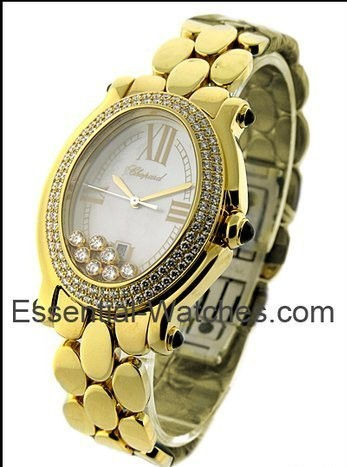 Chopard Happy Sport Oval in Yellow Gold with 2-Row Diamond Bezel