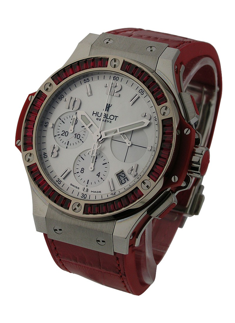 Hublot Big Bang Tutti Frutti 38mm in Steel with Red Baguette Diamond Bezel