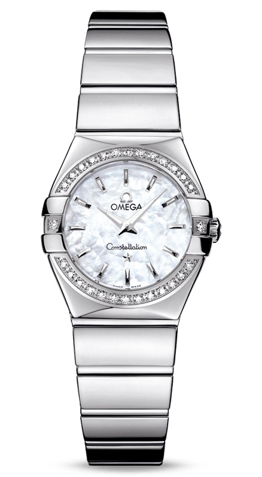 Omega Constellation '09 Polished Quartz in Steel with Diamond Bezel